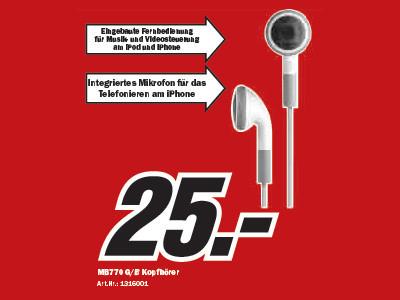 Apple MB770 G/B Kopfhörer ©Media Markt