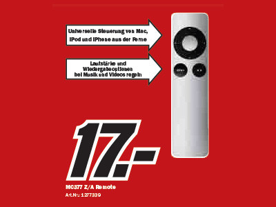 Apple MC377 Z/A Remote © Media Markt