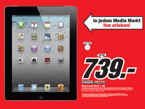 Apple iPad 2 mit WiFi und 3G ©Media Markt