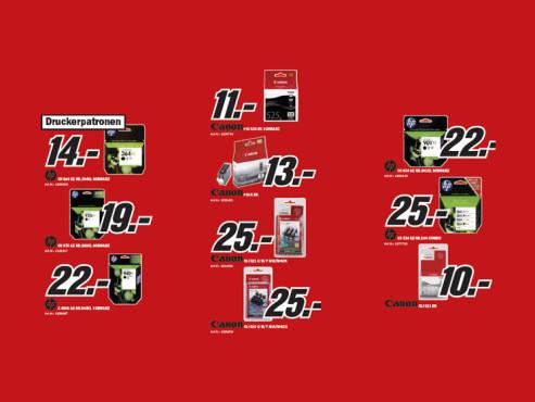 Diverse Tintenpatronen für Canon- und HP-Drucker ©Media Markt