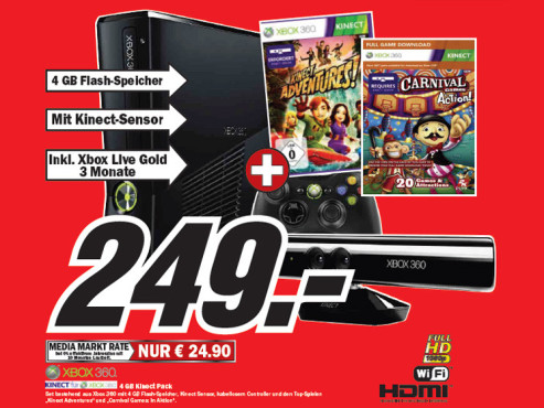 Microsoft Xbox 360 4 GB Kinect Pack © Media Markt