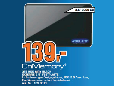 CnMemory 2TB HDD Airy Black © Saturn