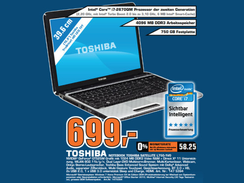 Toshiba Satellite L750-1V0 © Saturn