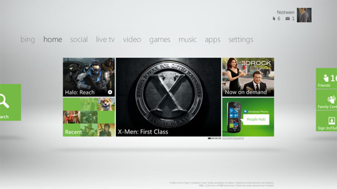 Xbox 360 Dashboard 2011: X-Men © Microsoft