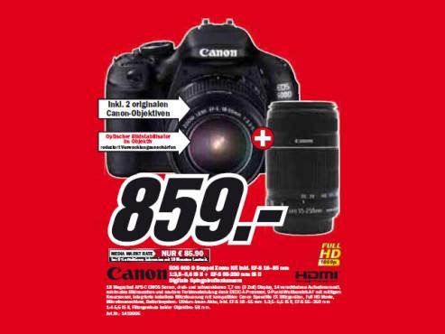 Canon EOS 600D (EF-S 18–55 mm 1:3,5–5,6 IS II und EF-S 55-250 mm IS II) ©Media Markt