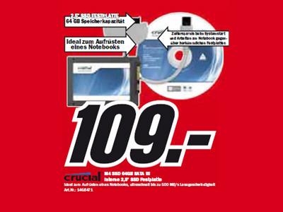 Crucial M4 SSD 64GB SATA III ©Media Markt