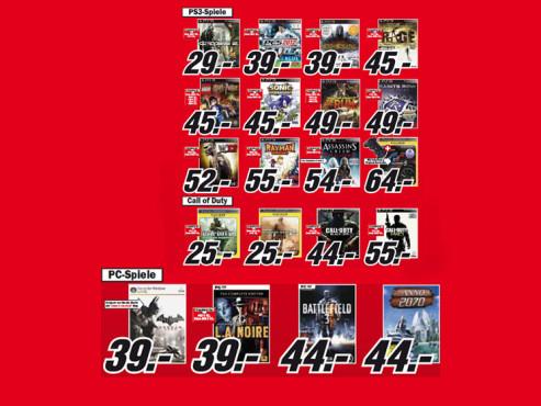 Diverse Playstation-3- und PC-Spiele ©Media Markt