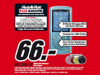 Sony NWZE 463 Walkman ©Media Markt