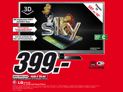 LG Electronics 42PW451 ©Media Markt