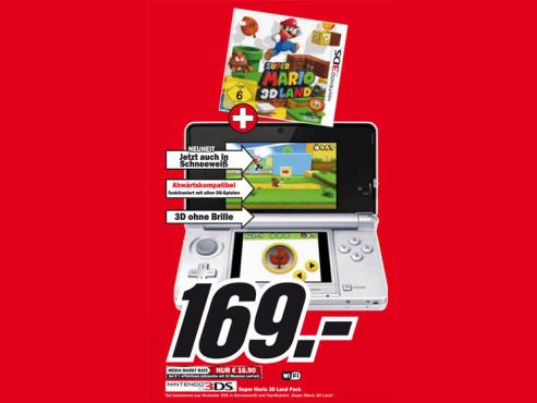 Nintendo 3DS (Schneeweiß) inklusive Super Mario 3D Land ©Media Markt