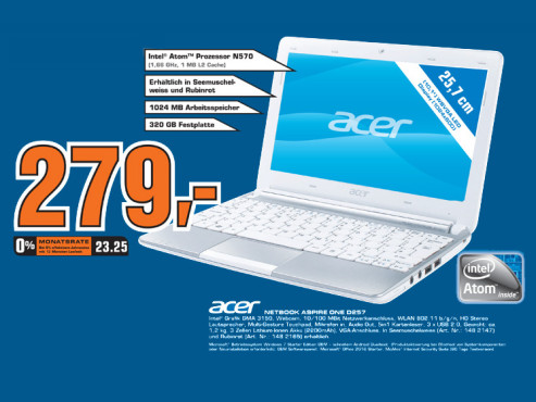 Acer Aspire One D257 © Saturn