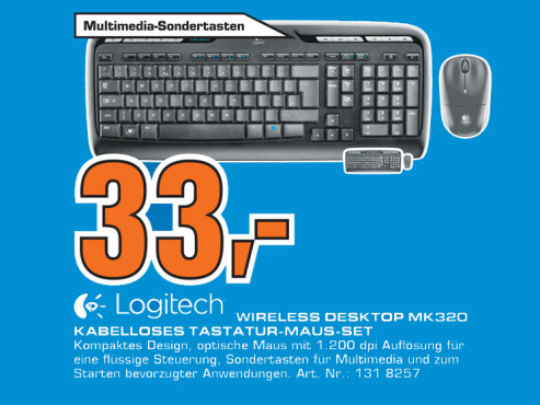 Logitech Wireless Desktop MK320 © Saturn