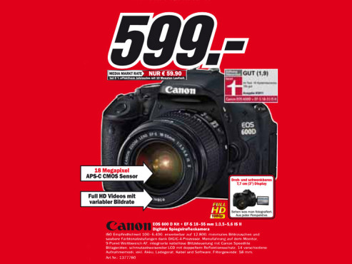 Canon EOS 600D Kit 18-55 mm © Media Markt