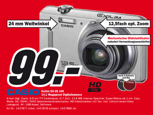 Casio Exilim EX-ZS100 ©Media Markt