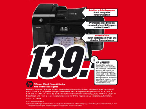 Hewlett-Packard HP Officejet 6500A Plus © Media Markt