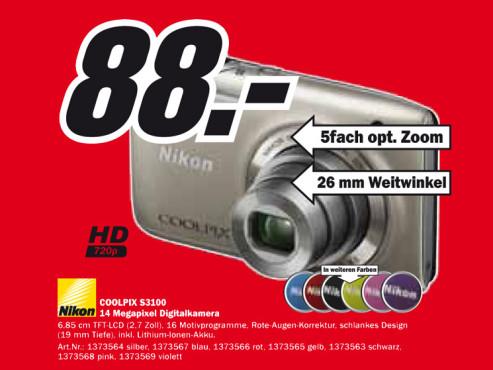 Nikon Coolpix S3100 ©Media Markt