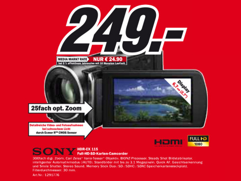 Sony HDR-CX115 © Media Markt
