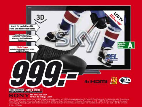 Sony KDL-40HX725 ©Media Markt