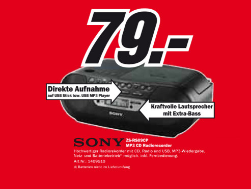 Sony ZS-RS09CP © Media Markt