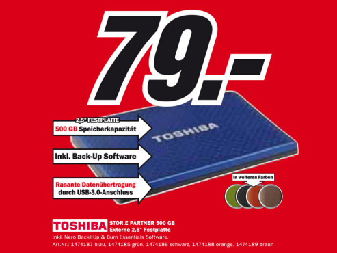 Toshiba Stor.e Partner 500 GB © Media Markt