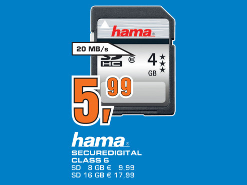 Hama SDHC Card HighSpeed Pro 4 GB Class 6 © Saturn