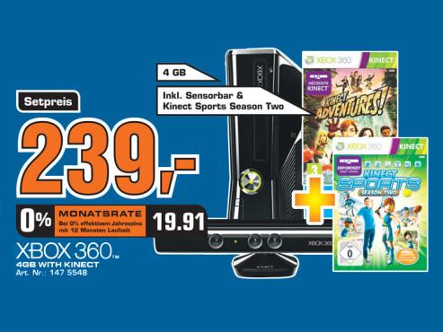 Microsoft Xbox 360 mit Kinect und zwei Spielen ©Saturn