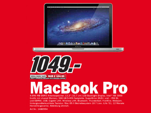 Apple MacBook Pro 13,3 Zoll © Media Markt