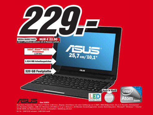 Asus Eee PC X101H-BLACK059S schwarz © Media Markt