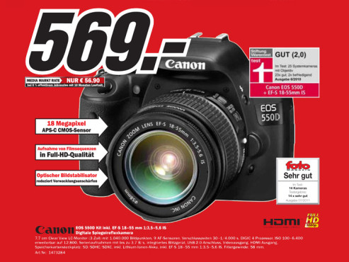 Canon EOS 550D Kit 18-55 mm © Media Markt