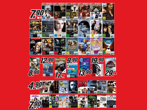 Diverse Film-DVDs und -Blu-rays, Audio-CDs © Media Markt