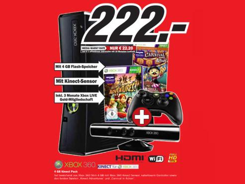 Microsoft Xbox 360 S 4GB + Kinect & Carnival ©Media Markt