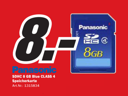 Panasonic SDHC Card 8 GB Class 4 © Media Markt