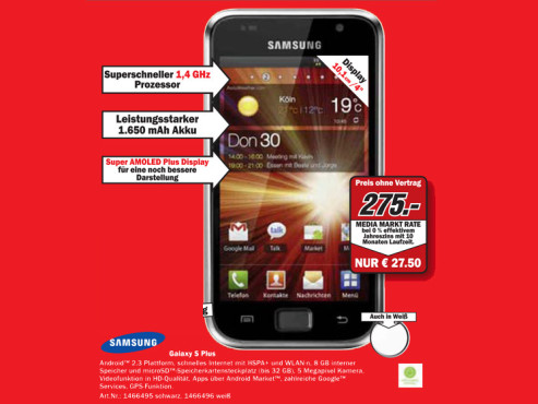 Samsung Galaxy S Plus © Media Markt