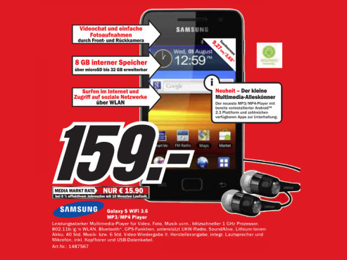 Samsung Galaxy S WiFi 3.6 © Media Markt