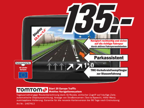 TomTom Start 20 Europe Traffic © Media Markt