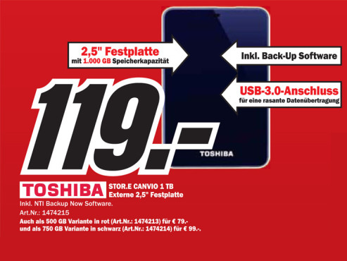 Toshiba StorE Canvio USB 3.0 1TB © Media Markt