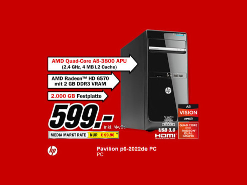 HP Pavillion p6-2022de © Media Markt