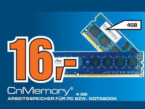 CnMemory-Arbeitsspeicher für Notebook und PC ©Saturn