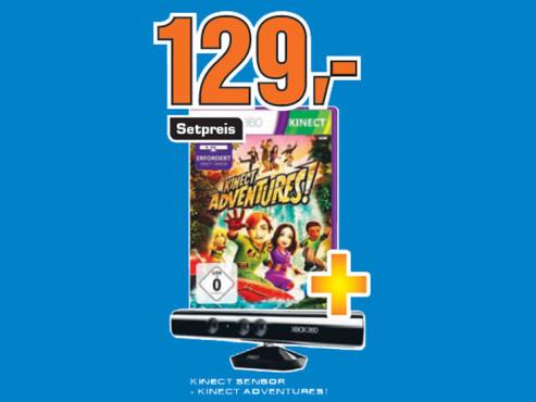 Kinect Sensor inklusive Kinect Adventures (Xbox 360) ©Saturn