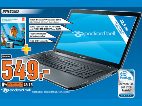 Packard Bell EasyNote LS11HR-400GE inklusive Photoshop Elements 9 © Saturn