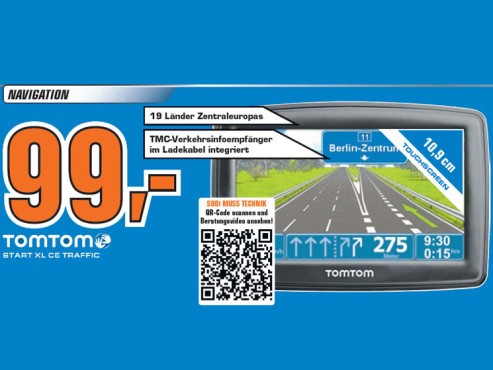 TomTom Start XL Central Europe Traffic © Saturn
