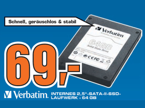 Verbatim 2.5 Zoll SATA-II SSD Internal 64GB © Saturn