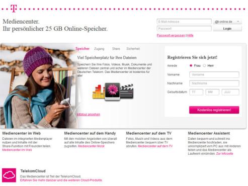 Telekom Cloud Mediencenter Anmeldung ©COMPUTER BILD