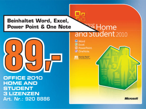 Microsoft Office 2010 Home And Student (3 Nutzer) © Saturn