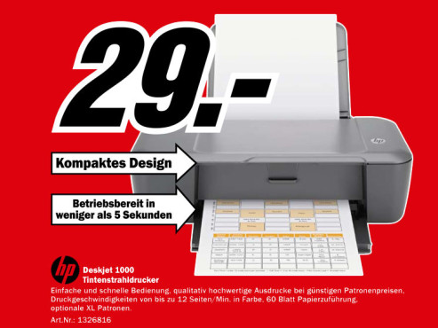 Hewlett-Packard HP Deskjet 1000 © Media Markt