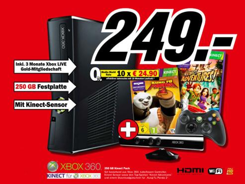 Microsoft Xbox 360 S 250GB + Kinect & Kung Fu Panda 2 ©Media Markt