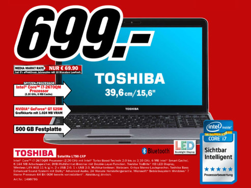 Toshiba Satellite l750-1XP © Media Markt