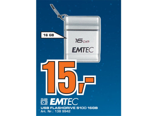 Emtec S100 Micro Series 16GB Flash Drive (EKMMD16GS100) © Saturn