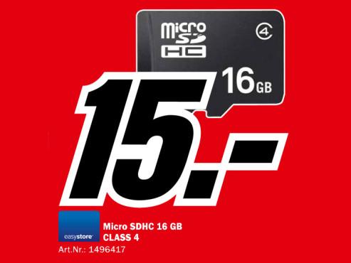 Sandisk microSDHC Card 16 GB Class 2 ©Media Markt