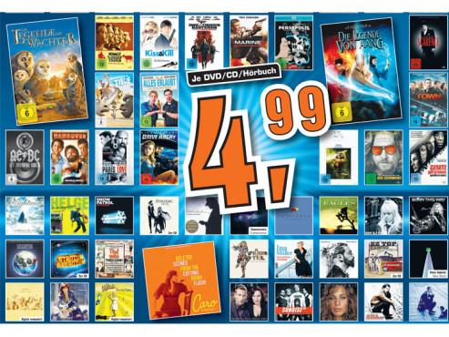 Diverse DVDs, CDs und Hörbücher ©Saturn